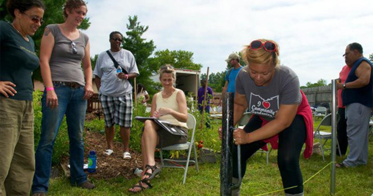 Yolanda Owens plants as part of a Growing Power workshop. Photo: Yolanda Owens.