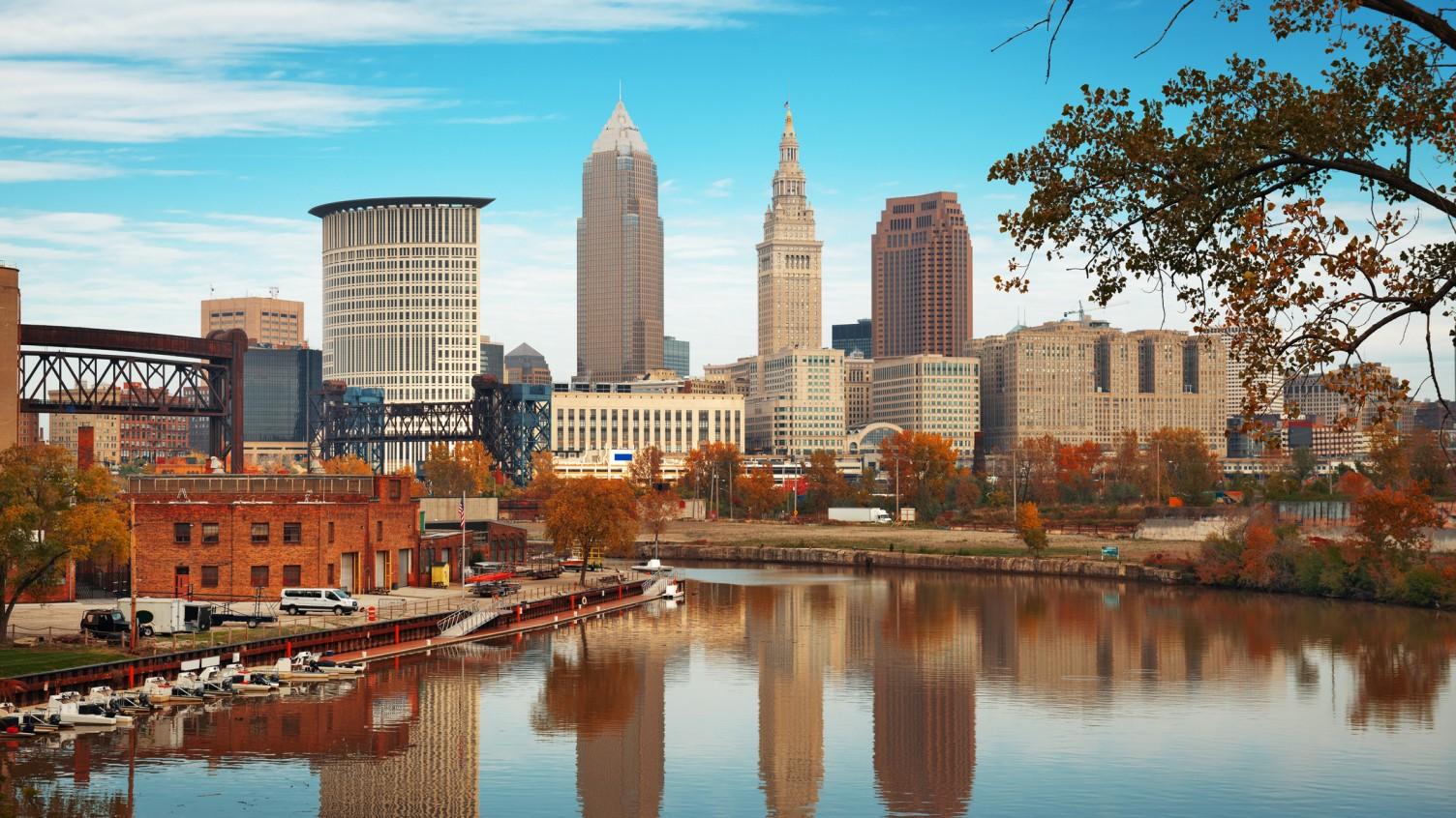 Cleveland's skyline with fall foliage.