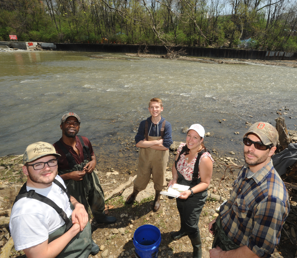 Gray and students pause while sampling in the Olentangy River (2014). (Photo: Ken Chamberlain, CFAES.)