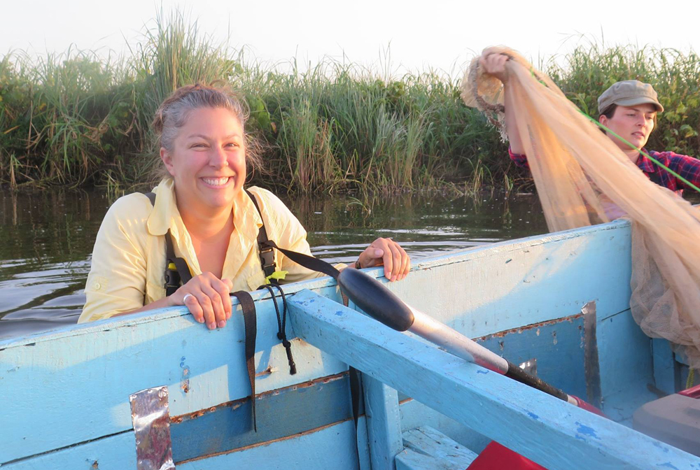 Gray and former McGill University MS student Emmanuelle Chrétien seine for Nile Perch early in the morning in Lake Nabugabo, Uganda (2013). (Photo courtesy of Gray.)