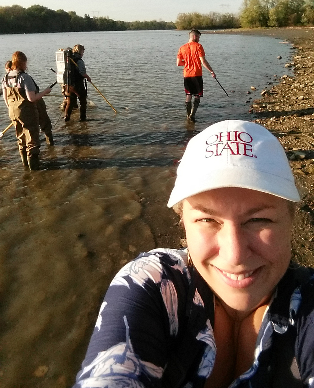 Gray takes a selfie while collecting fish in the Scioto River with her ENR 5350.02 students (2017). (Photo courtesy of Gray.)