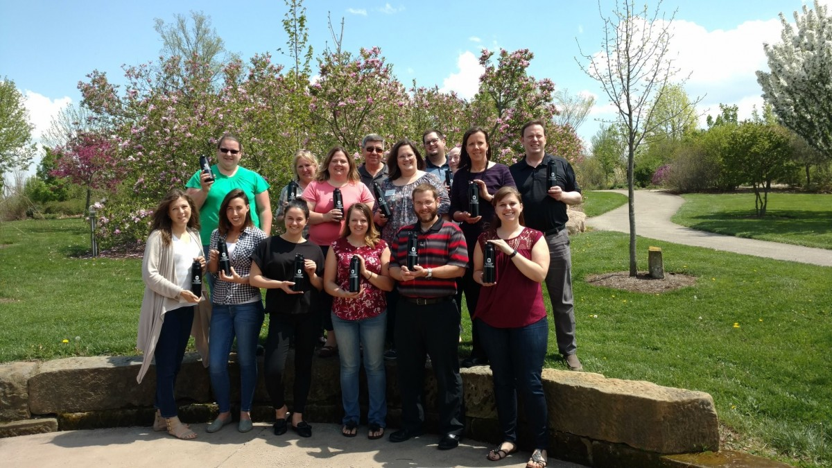 CFAES Staff Advisory Council and Wooster Staff Council members showing off the new staff recognition swag while visiting the Wooster campus