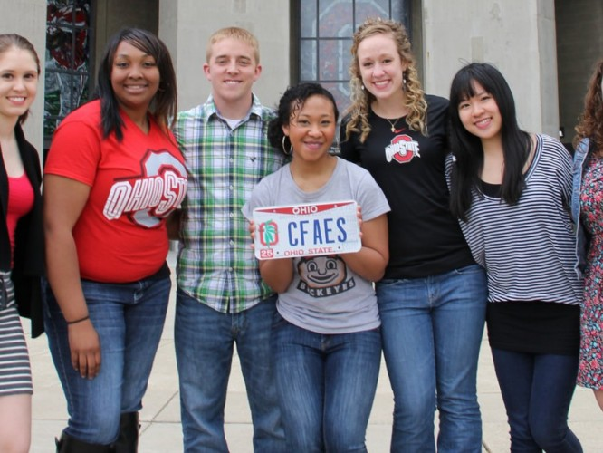 CFAES students in front of stadium