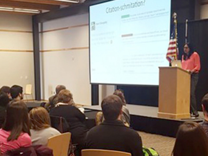 Students involved in Citation Needed listen to invited speaker and author Kavin Senapathy in 2016. (photo: Department of Food Science and Technology)