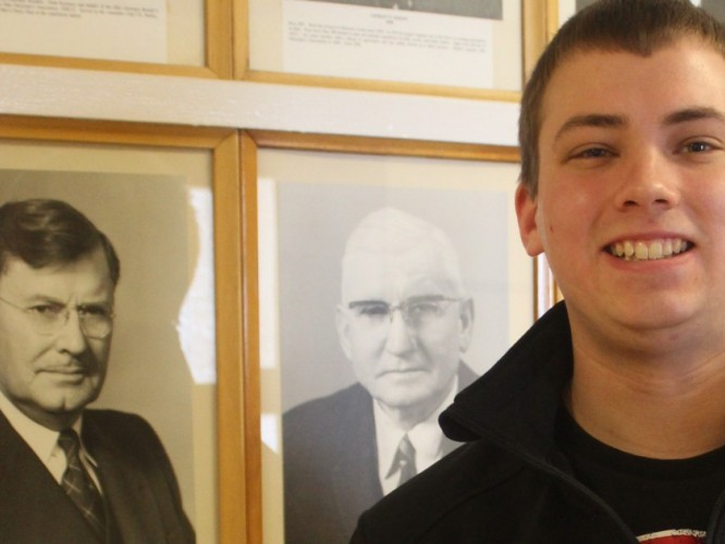 Photo of Nick Erf with his great-great-great uncle Oscar Erf