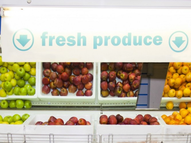 The fresh produce isle of a grocery store
