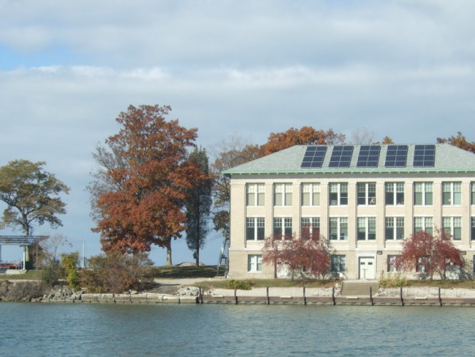 Stone Lab buildings are powered using solar panels on the roof and on a nearby pavilion. Photo: Stone Lab