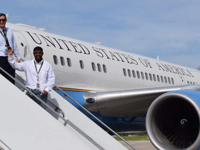 Wyatt (Kin) Sanders-Evans was invited to tour Air Force Two during his internship.