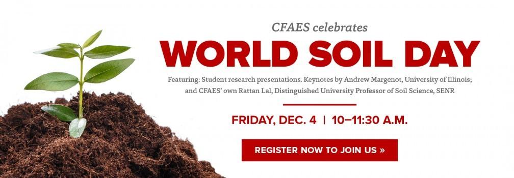 CFAES World Soil Day Celebration, Friday, Dec.4, 10–11:30 a.m.