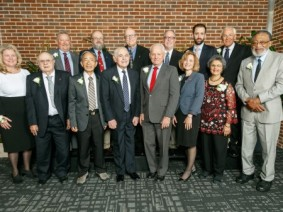 PHOTO: Front row, from left: Alumni Board President Cyndi Brill, Dale Seiberling, Ming-Tsao Chen, Alexander Grobman, Clifford Baughman, Dean Cathann Kress, Rohini Desai Mulchandani, Edison Fowlks. Back row, from left, Michael Day, Kent Hammond, Carl Zulauf, Joel Korte, Kevin Fath, W. Kirk Miller. Not pictured: Nutsuda Sumonsiri. Photo: College Office of Advancement.
