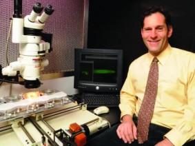 John Finer at his lab.