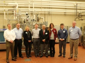 Pictured in the photo, from left, are Chris Purvis, AGC Heat Transfer; John Piganelli, Fristam Pumps; Beth Kloos, OCS Process Systems; Joe Woodard, Rockwell Automation; Valente Alvarez, CFAES; Carla Guzman, Tetra Pak; Parker Burke, Anderson-Negele and Neil O'Connor, Pentair.