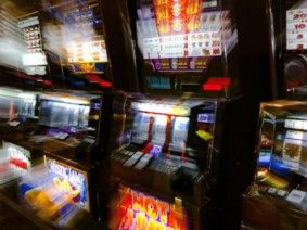stock image of slot machines