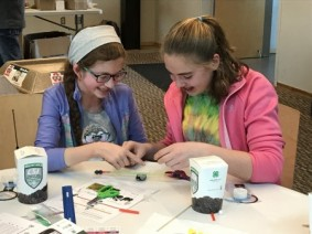 Two Clear Fork Middle School students from Morrow County work together to build a no-till planter at the 4-H Ag Innovators Experience, Healthy Soils C.S.I. Challenge kick-off event. Photo: Katerina Sharp