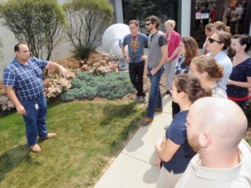 Mohamed El-Gazzar speaks with veterinary students touring Cooper Farms in western Ohio. (Photo by Ken Chamberlain)
