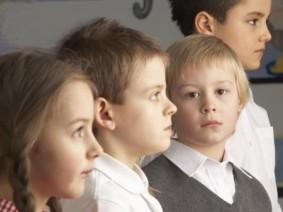 children standing in line