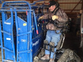 An all-terrain track chair can assist a farmer challenged by walking long distances.