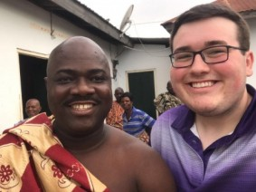 ATI student Gage Smith started the first two 4-H programs in the Volta Region of Ghana. Smith (right) is pictured with Togbe Kotoku XI, paramount chief of Kpenoe, a town in Ghana.