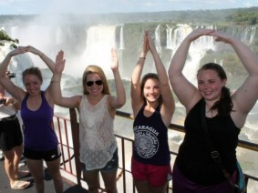 Agribusiness major Summer McCracken, left, at Iguazú Falls in South America, said studying abroad has made her a more well-rounded student and person.
