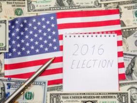 image of flag, money and 2016 election