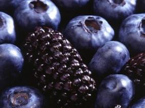 Fresh blueberries and blackberries
