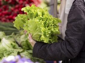 iStock image of shopper holding lettuce