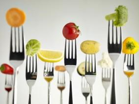 illustration: fruits and vegetables on fork tips