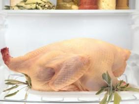 raw turkey on bottom shelf of refrigerator