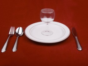 place setting with glass of water