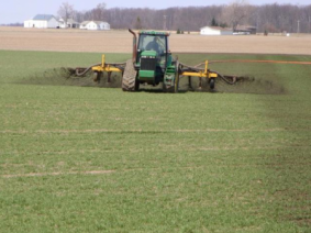 Liquid manure topdressing on wheat. (Photo courtesy of Glen Arnold)