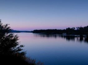 Picture of blue river at sunrise
