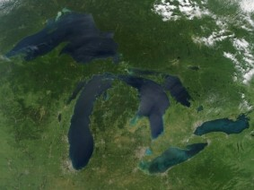 Satellite photo of Great Lakes with algal blooms
