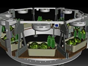 Ohio State's food-production system is located in the Deep Space Habitat's plant atrium area.