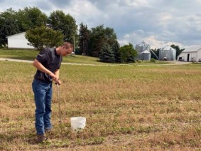 CFAES Water Quality Associate Boden Fisher samples soil at a farm in northwest Ohio..