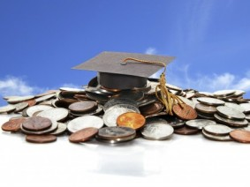 coins and graduation cap