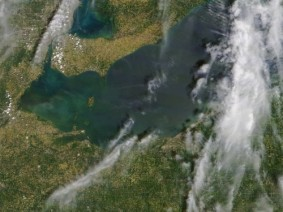 Satellite photo of Lake Erie algal bloom
