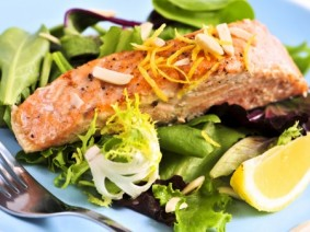 salmon with leafy greens