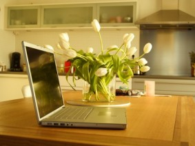 laptop on kitchen counter