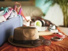 vacation hat, sunglasses, luggage
