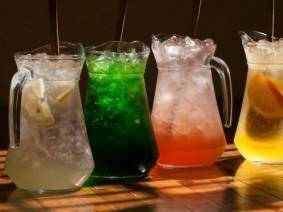 pitchers of water flavored with fruit
