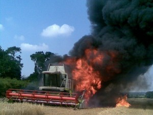 In such dry fields, combines are at increasing risk of catching on fire. (Photo: Flickr)
