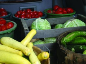 vegetables in crates and baskets