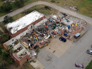 Destroyed Ag Engineering building after the tornado.