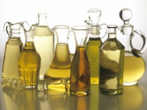 glass bottles of oil