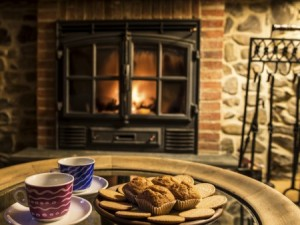 cookies in front of fireplace