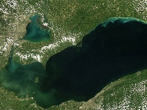 Harmful algal bloom -- Lake Erie. Photo: NASA, NOAA