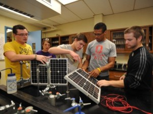 Students in Ohio State ATI's renewable energy program learn about solar panels. (Photo by Frances Whited)