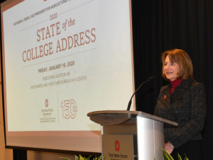 Cathann Kress giving 2020 State of the College address.