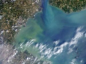 A satellite image of the Toledo-area algal bloom in Aug. 2014. Photo by NASA.