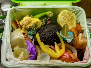 Food waste in a trash can